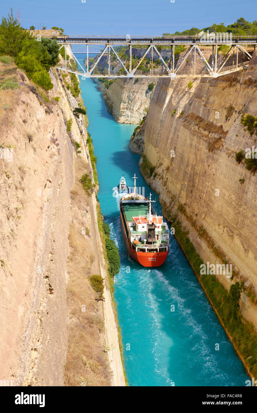 Corinth - Boat in the ancient canal of Corinth, Peloponnese, Greece Stock Photo