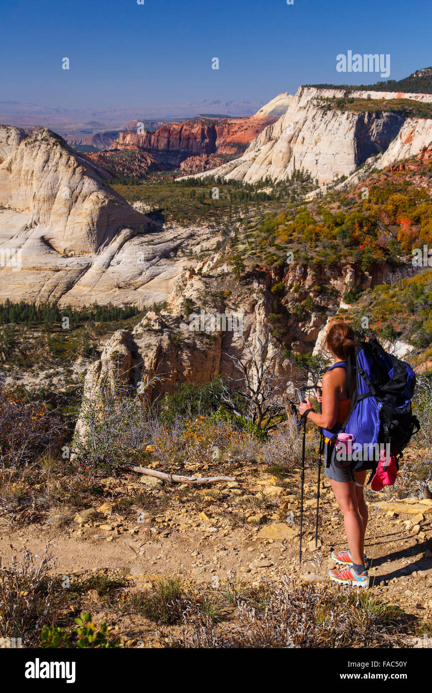 Backpacking on the West Rim Trail, Zion National Park, Utah. - Stock Image