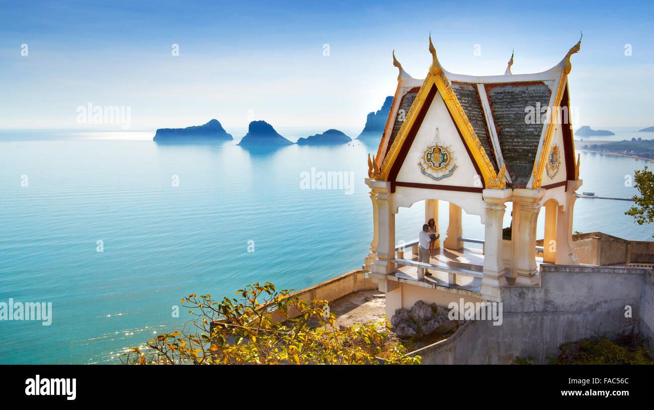 Thailand - Buddhist small monastery pagoda, Khao Chong Krachok mountain, located close to Prachuap city - Stock Image
