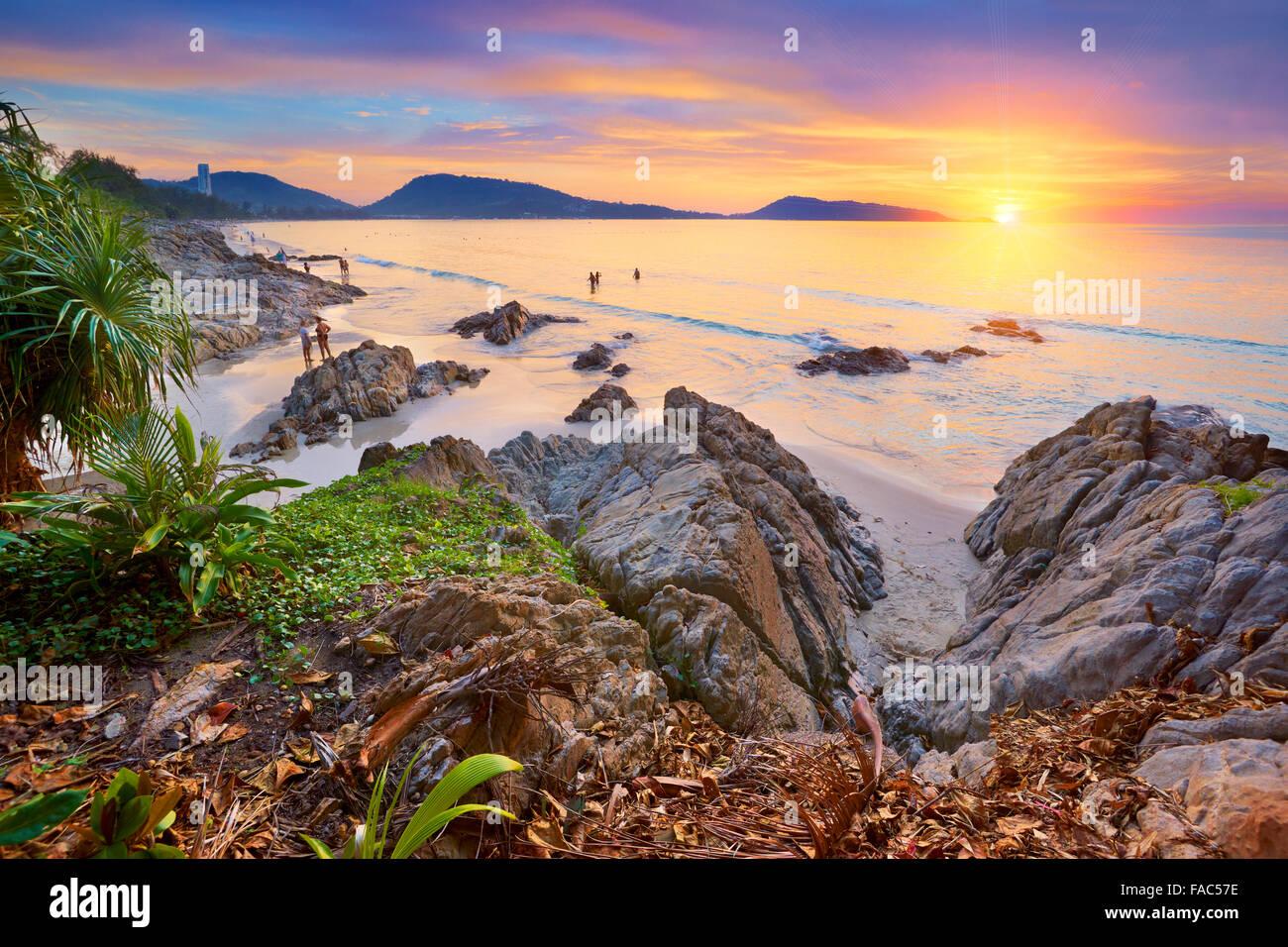 Thailand - tropical Phuket Island, Patong Beach, sunset time scenery - Stock Image