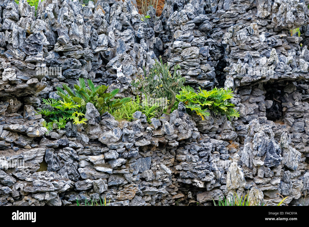 hard landscaping, stone and grass - Stock Image