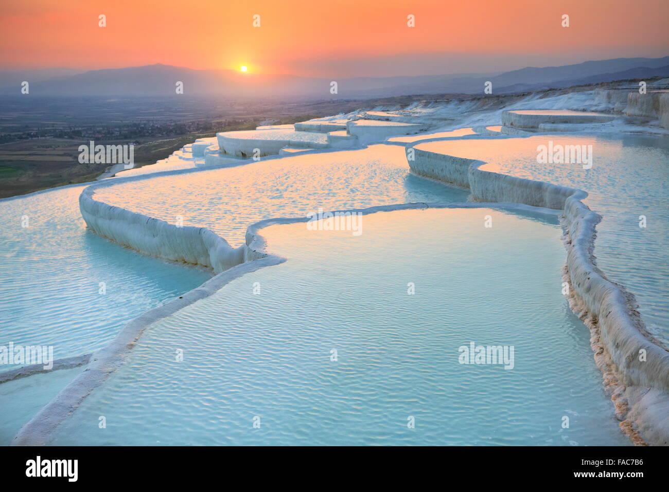 Pamukkale, sunset in the limestone terraces, Turkey - Stock Image
