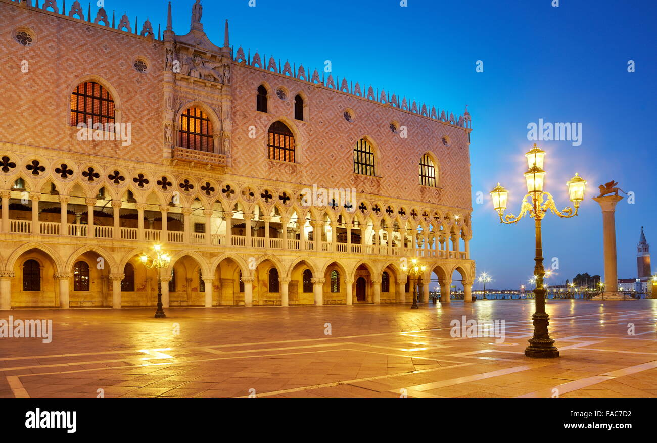 Venice - St Mark's Campanile and Doge's Palace (Palazzo Ducale) at evening time, Italy, UNESCO - Stock Image