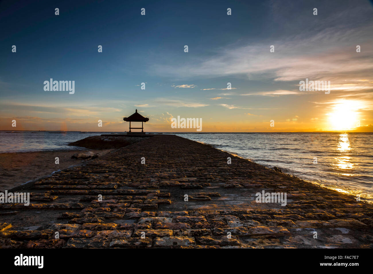 pagoda, sun, rise, water, clouds, colourful - Stock Image