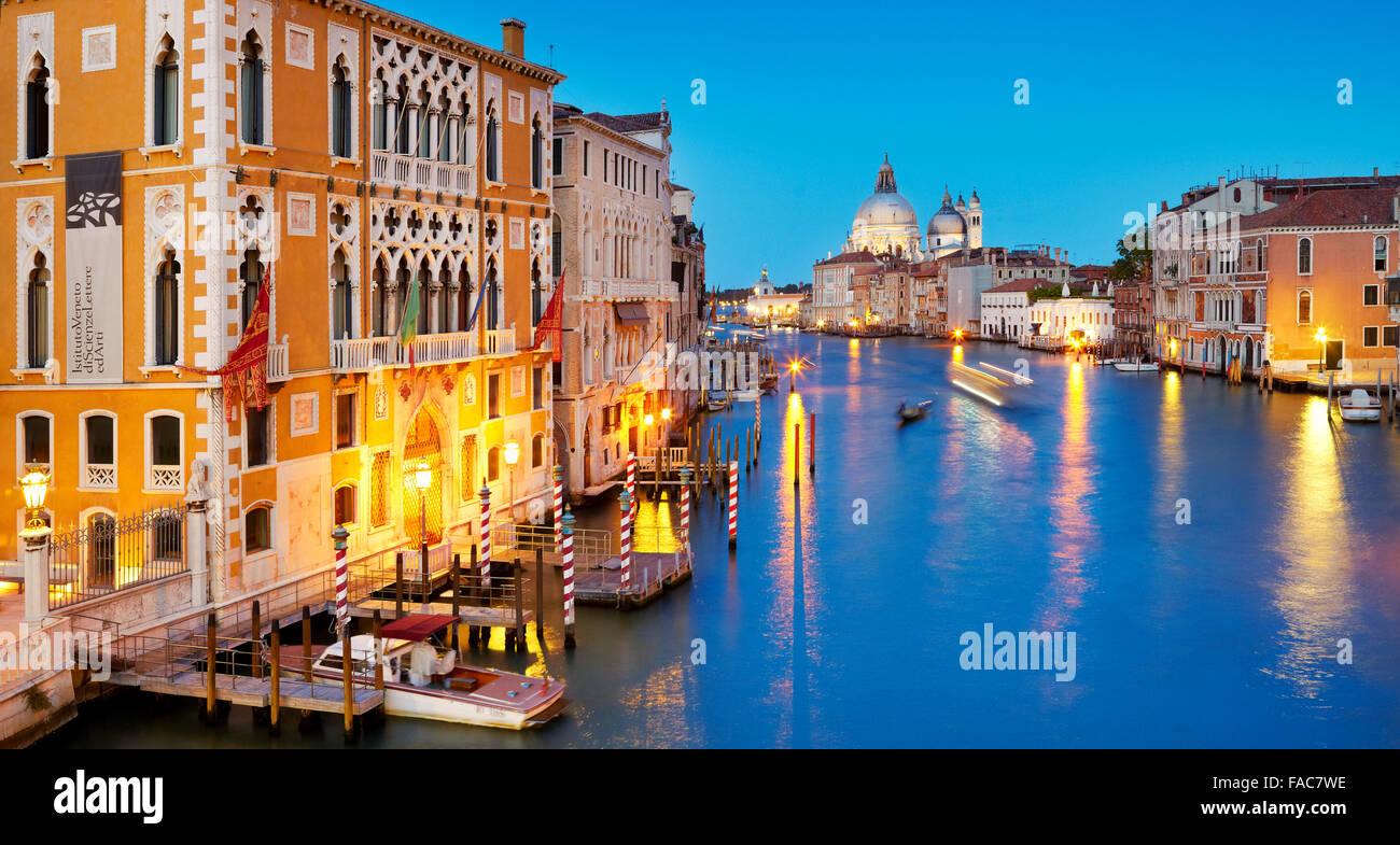 Evening at Canal Grande (Grand Canal) , Santa Maria della Salute basilica, Venice, Veneto, Italy - Stock Image