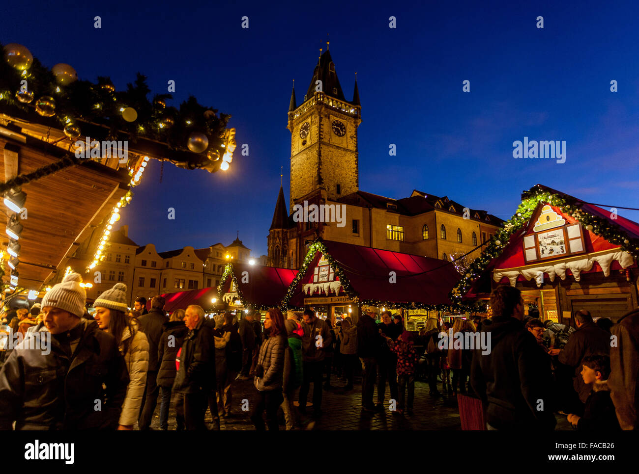Old Town Square, Town Hall Tower, Christmas market, Prague, Czech Republic - Stock Image