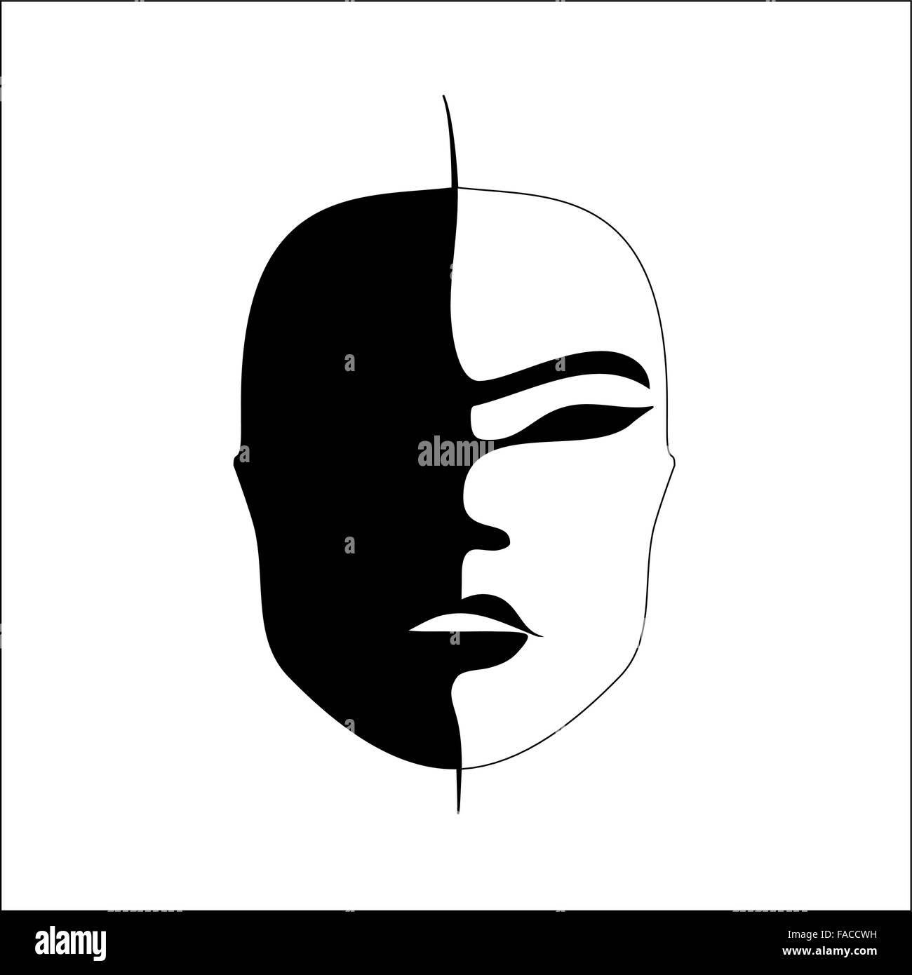 Abstract imitation of Japanese mask black and white - Stock Image