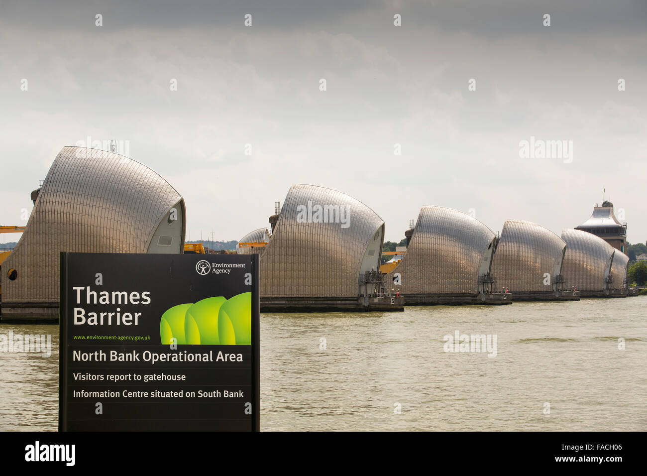 The Thames barrier on the River Thames in London. It was constructed to protect the capital city from storm surge Stock Photo
