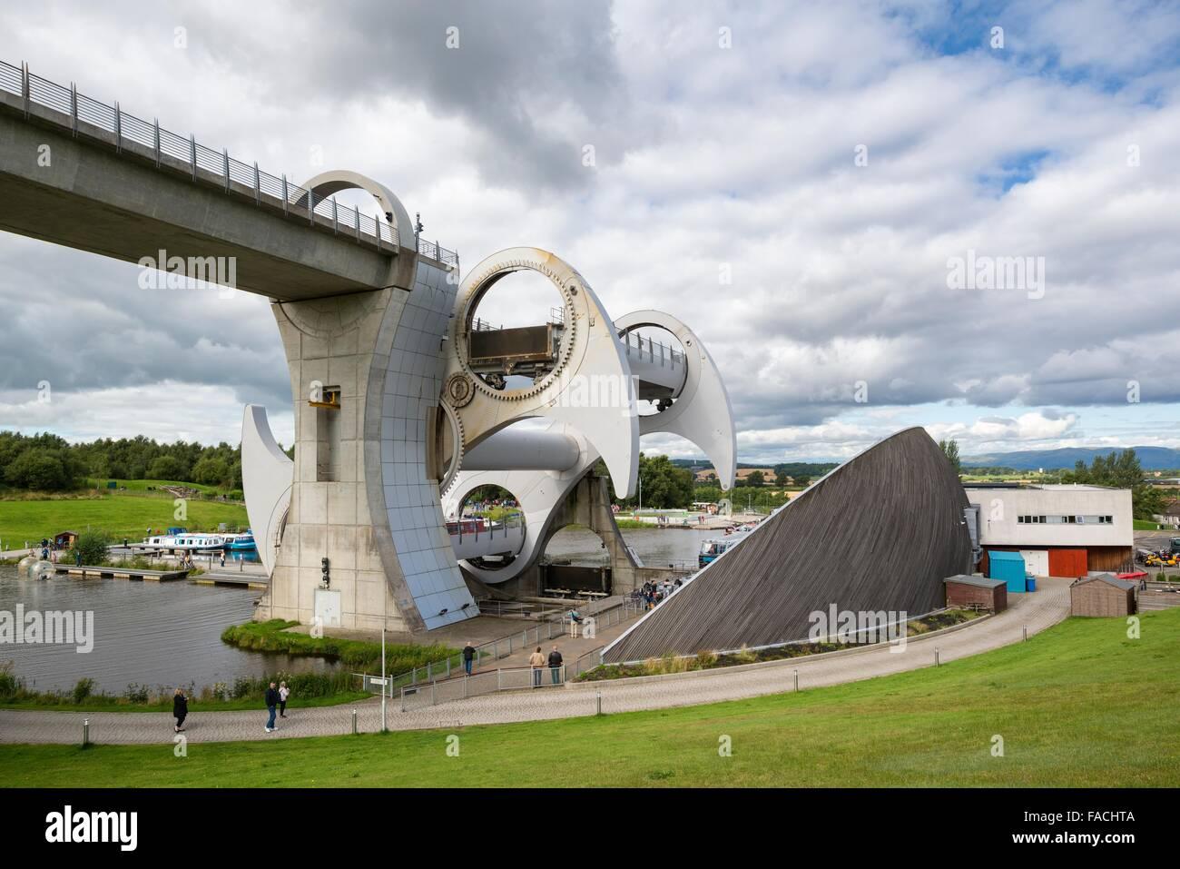 Falkirk Wheel, rotating boat lift, Falkirk, Scotland, United Kingdom - Stock Image