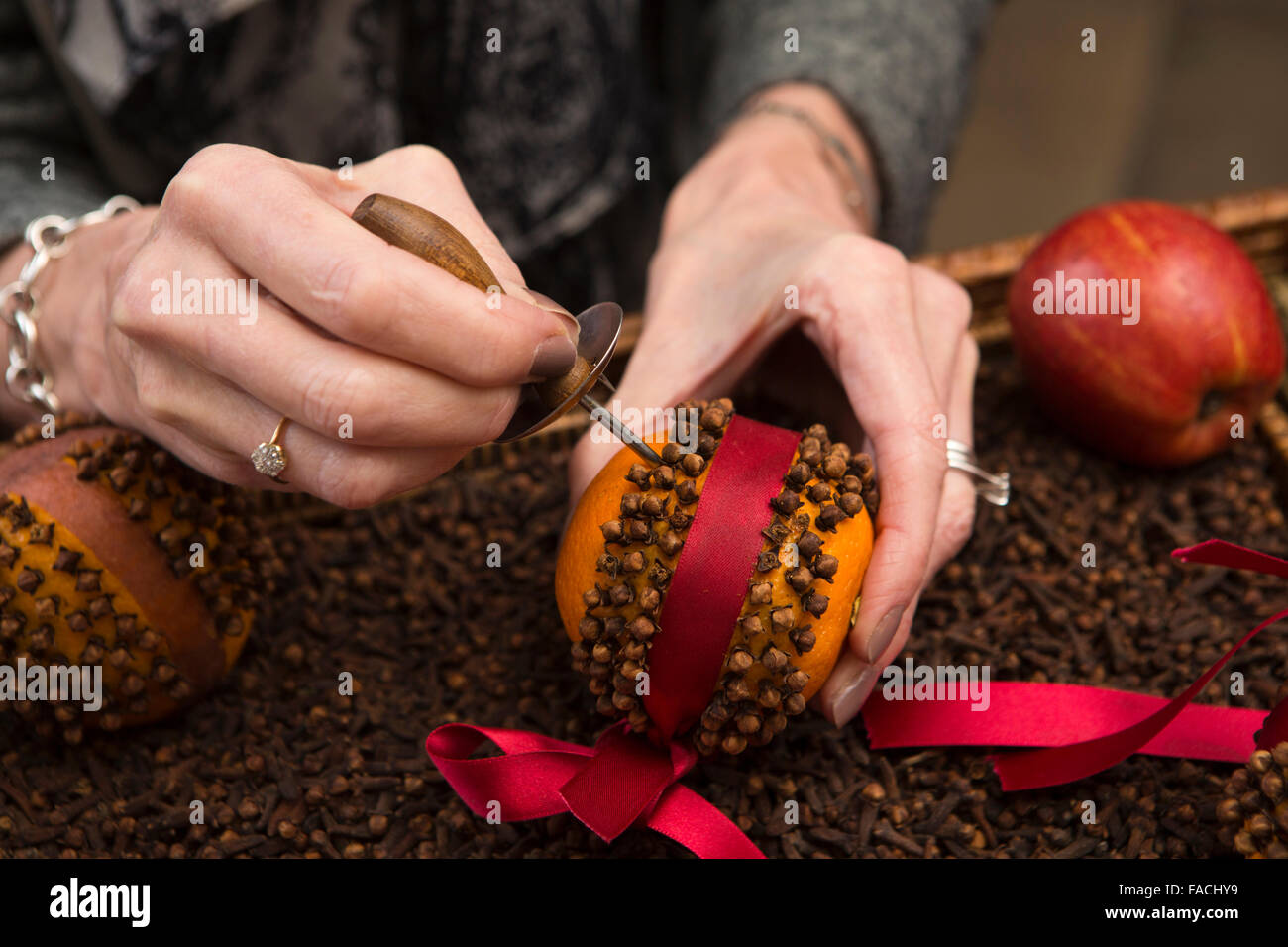 UK, England, Cheshire, Knutsford, Tatton Hall, Kitchen at Christmas, hands of woman inserting cloves into orange - Stock Image
