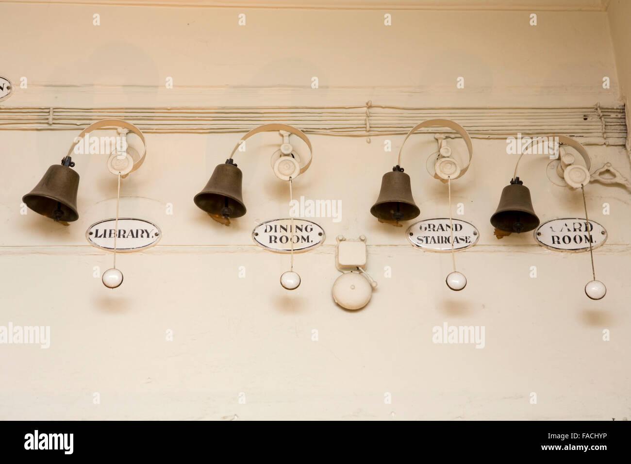UK, England, Cheshire, Knutsford, Tatton Hall, Servant's Bells - Stock Image