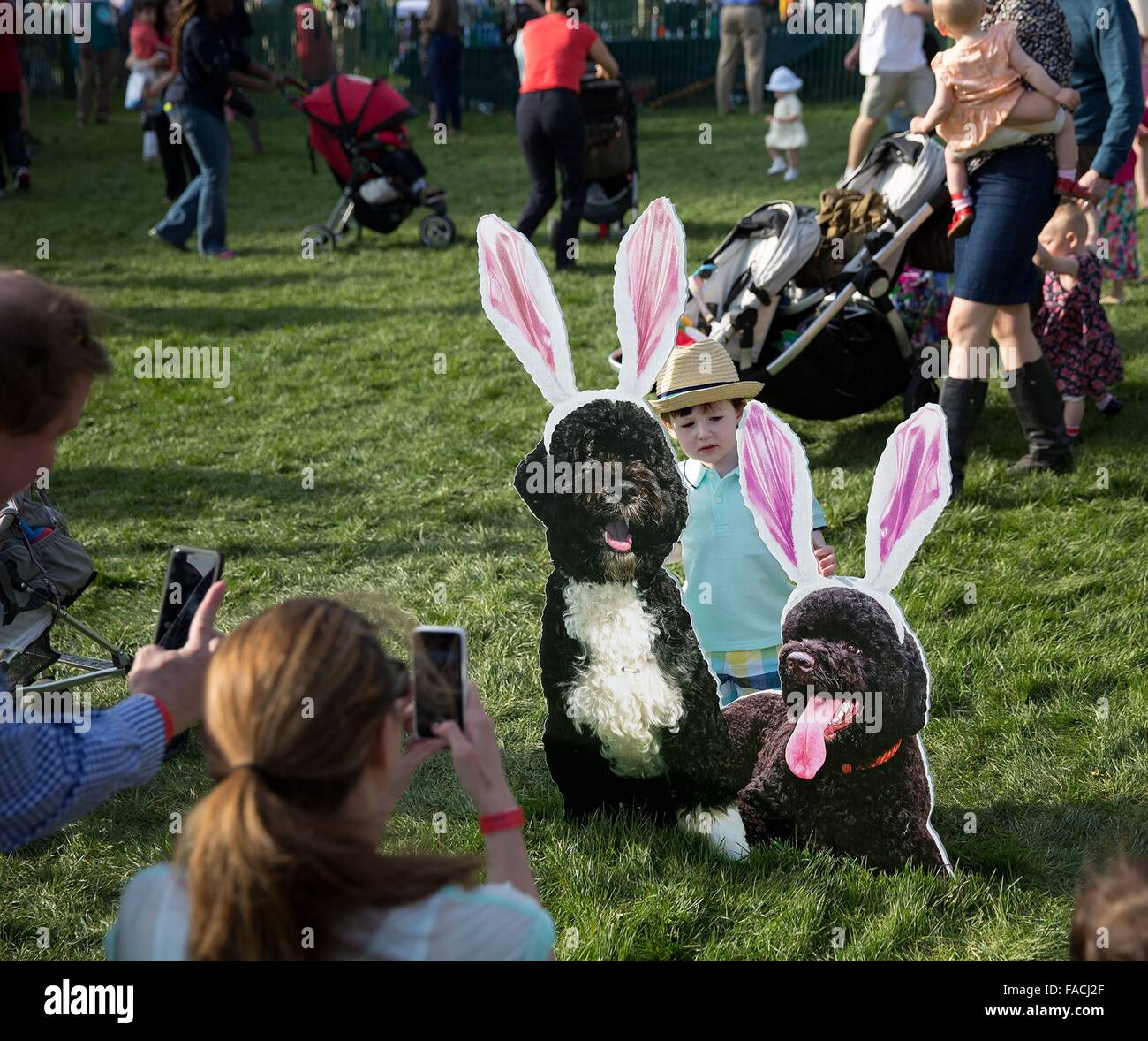 A young boy is photographed with Bo and Sunny cutouts on the South Lawn of the White House during the annual Easter - Stock Image