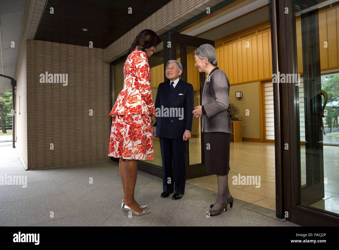 U.S First Lady Michelle Obama greets the Emperor of Japan Akihito and Empress Michiko at the Imperial Palace March - Stock Image
