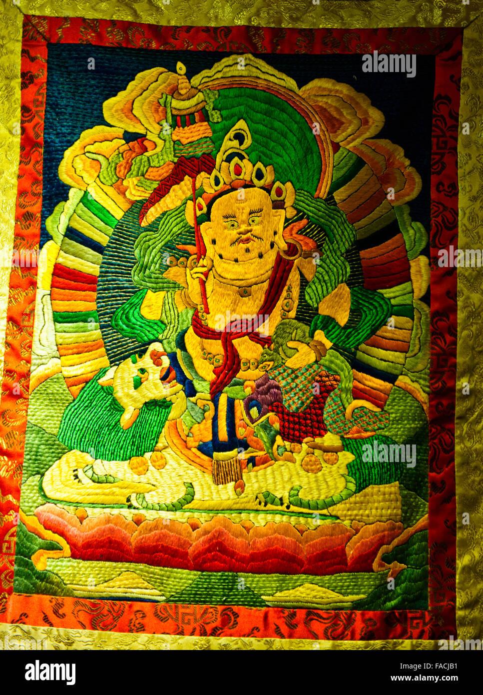 Lotus Flowers And Ancient Antique Tibetan Buddhist Thankas Stock ...