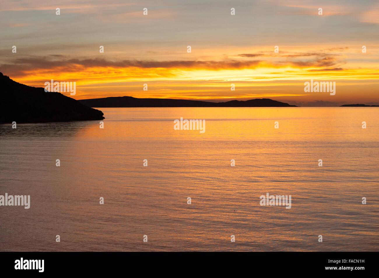 Sunset West coast of Scotland - Stock Image