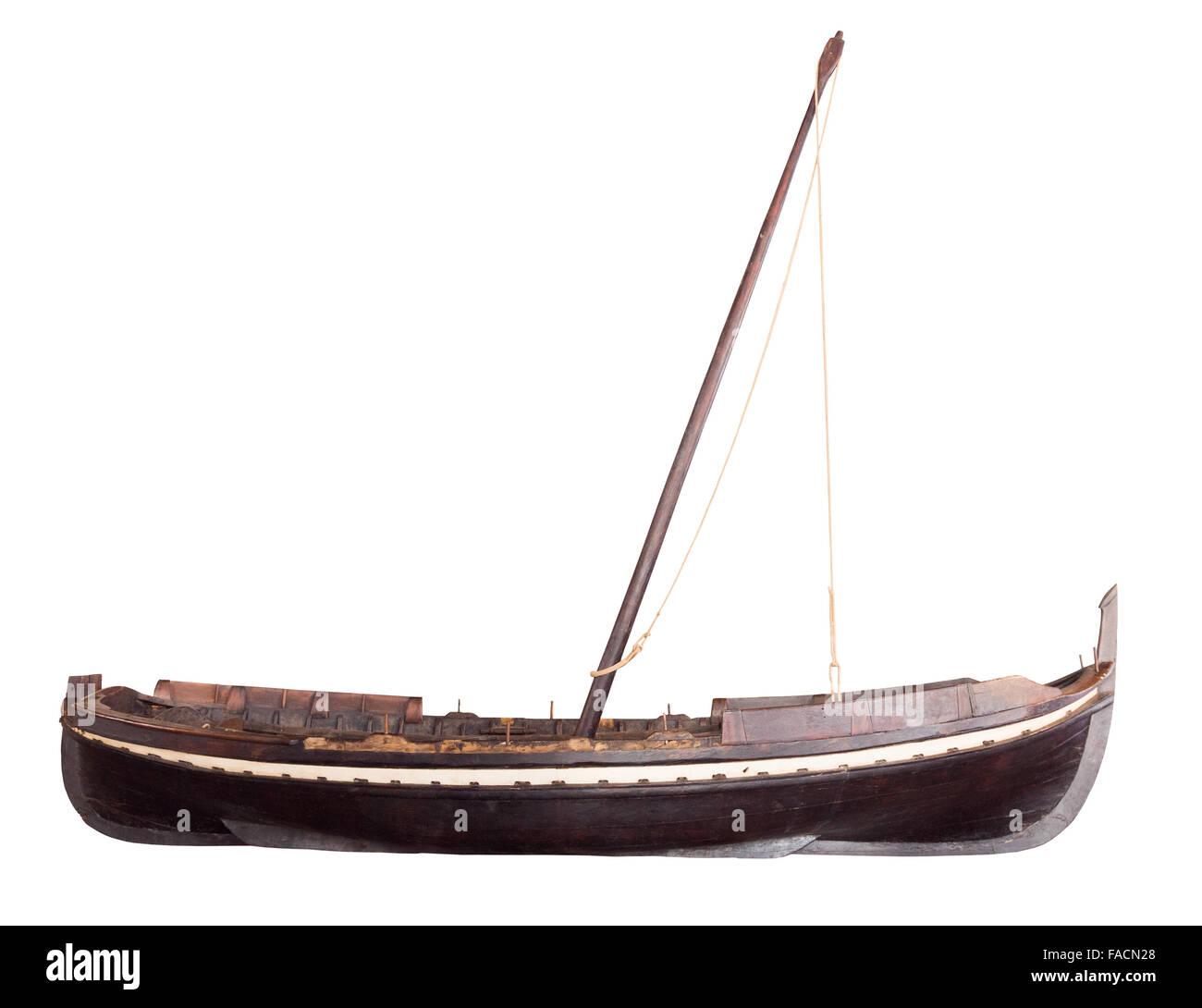 Retro boat, isolated on white - Stock Image
