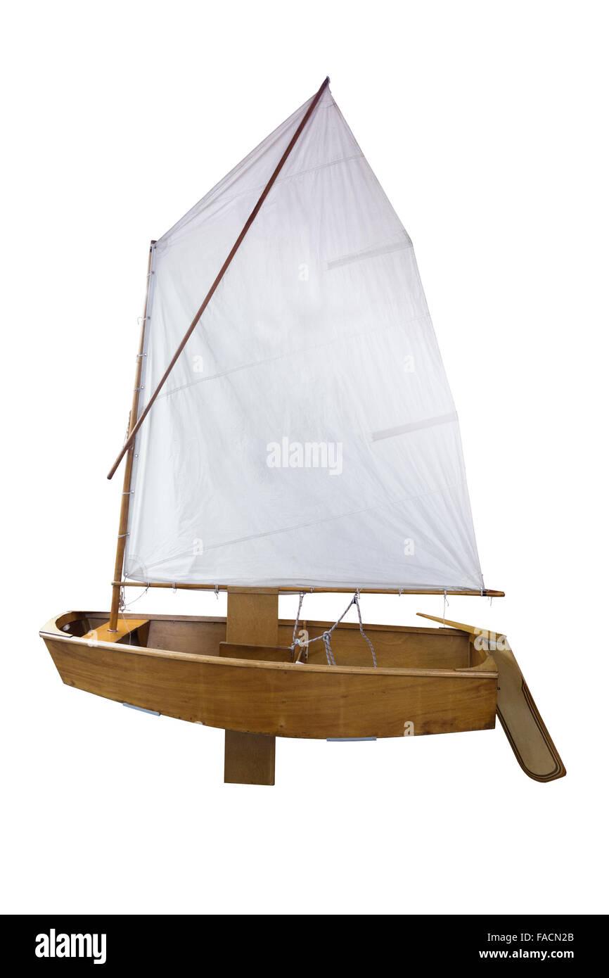 Retro yacht, isolated on white - Stock Image