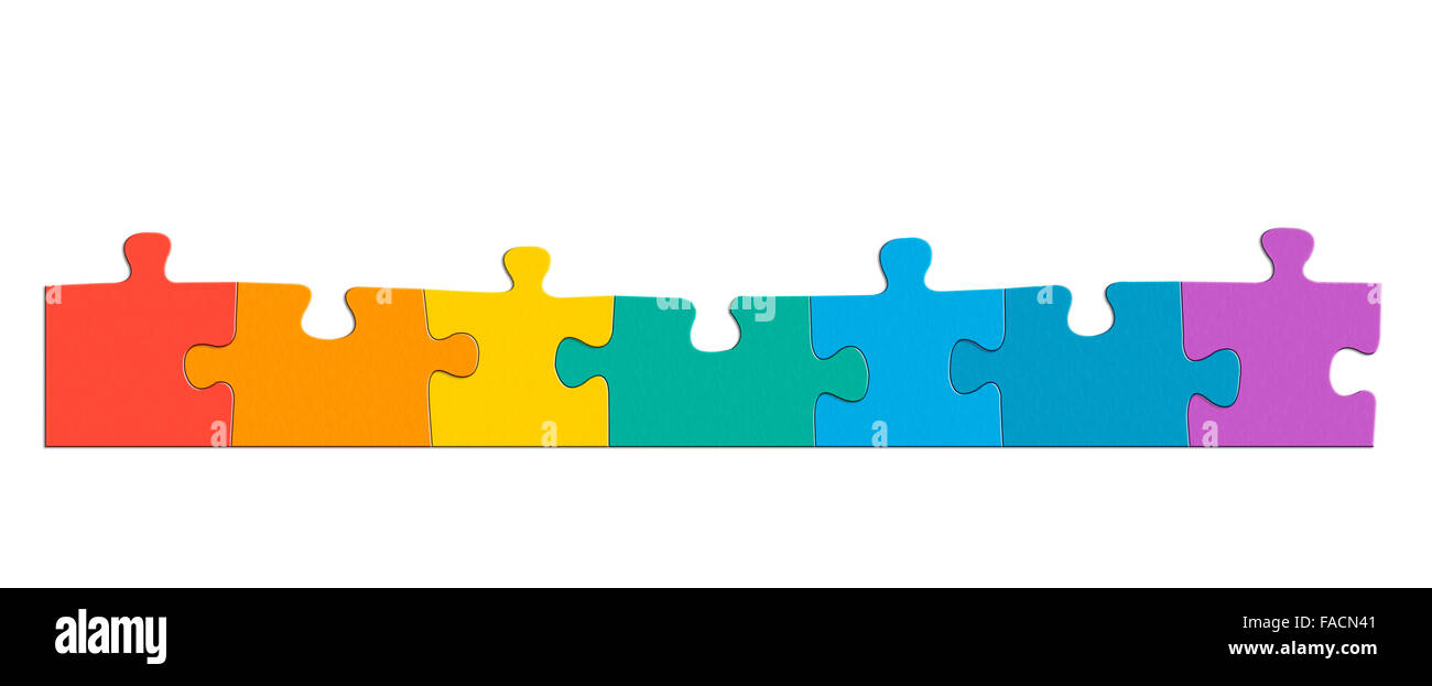 Colours of the rainbow puzzle pieces Stock Photo