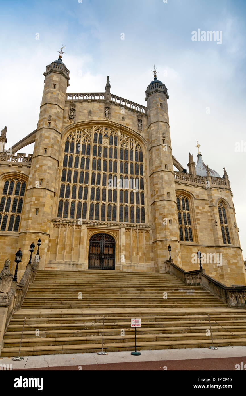 The west door of St George's Chapel at Windsor Castle, Berkshire, England, UK - Stock Image