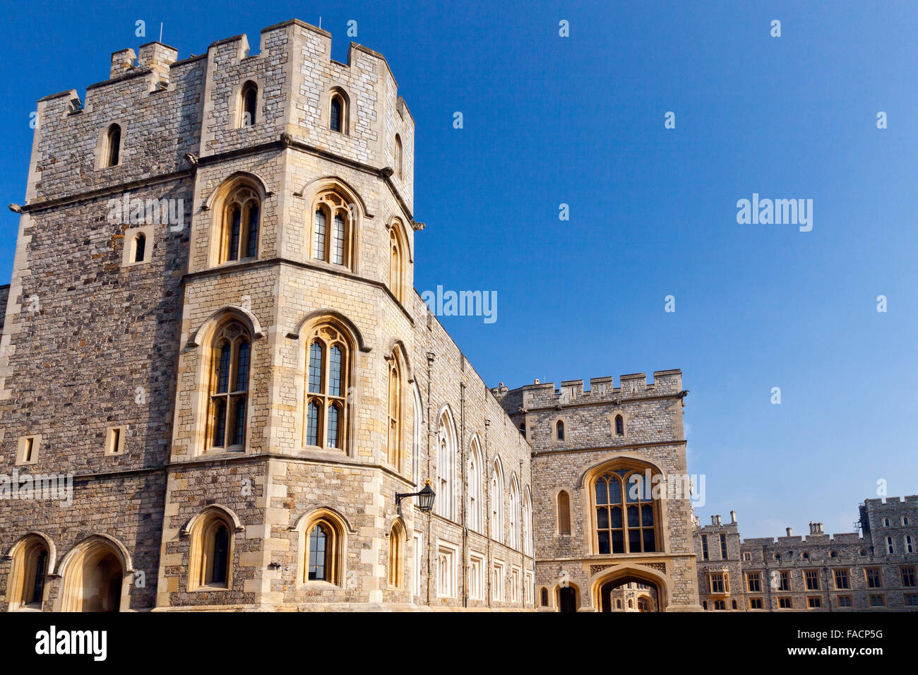King John's Tower (left) and the State Entrance (centre) at Windsor Castle, Berkshire, England, UK - Stock Image