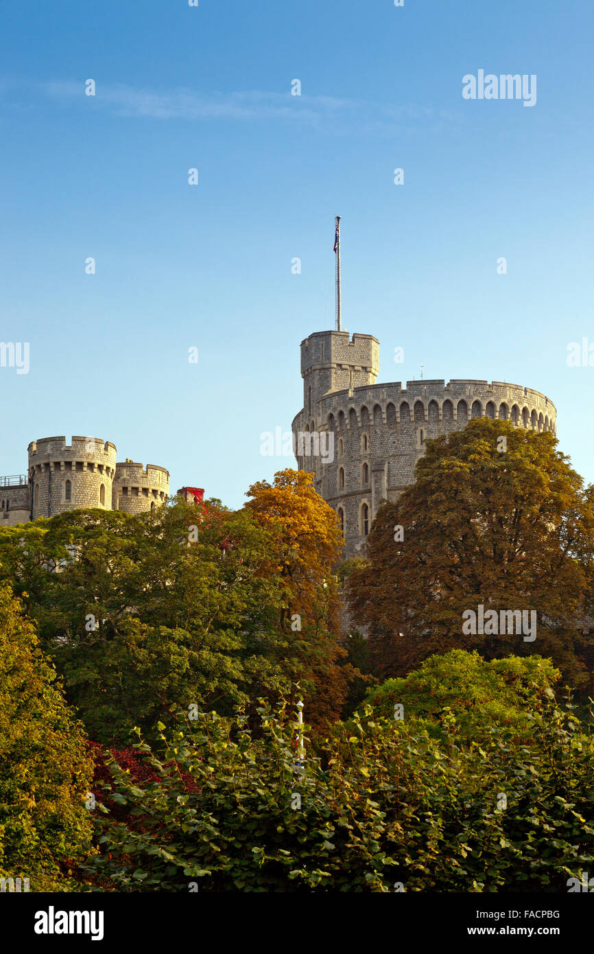 The Round Tower at Windsor Castle, Berkshire, England, UK - Stock Image