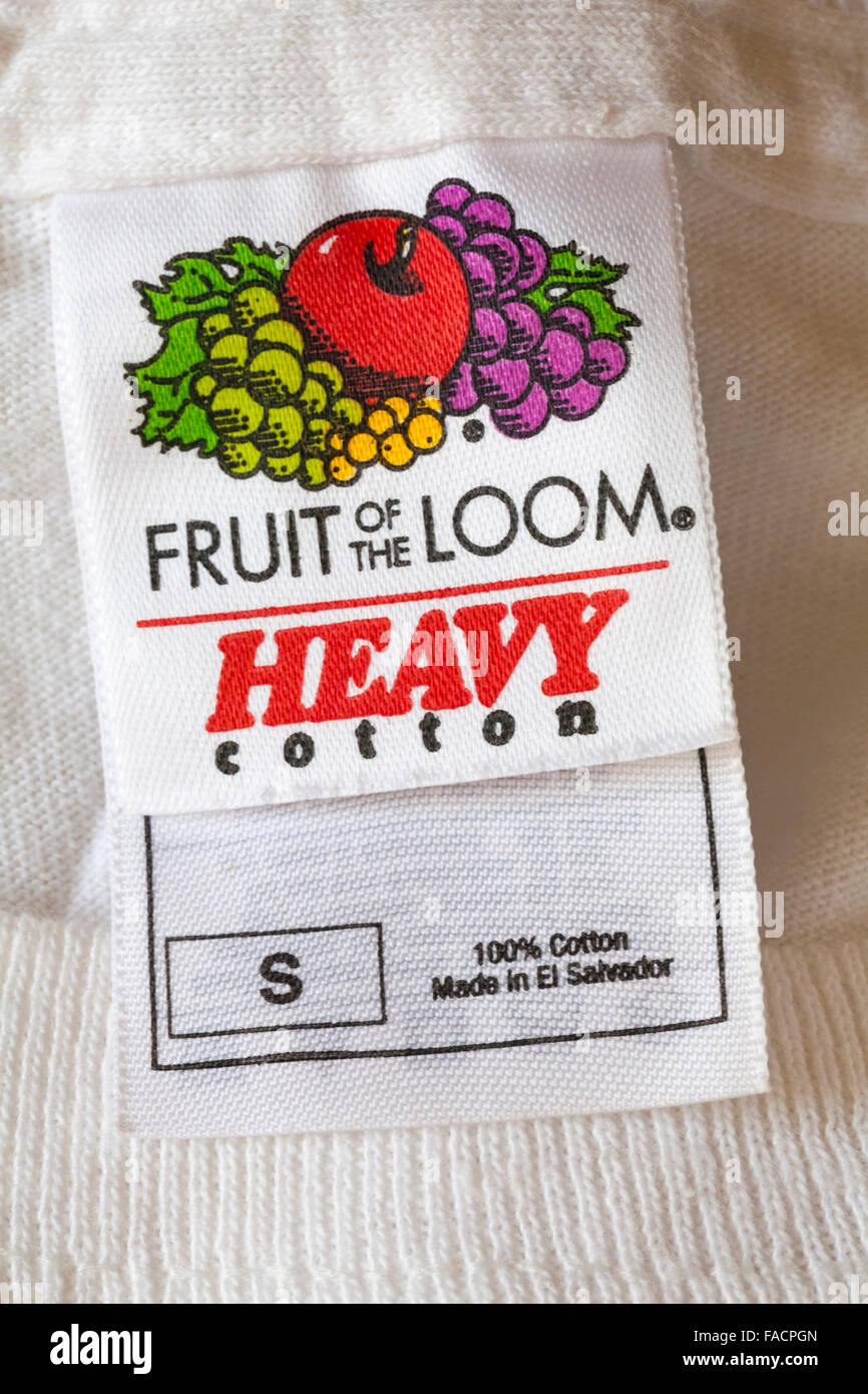 Fruit of the Loom label in heavy cotton t-shirt Stock Photo ... e0d50e272cda