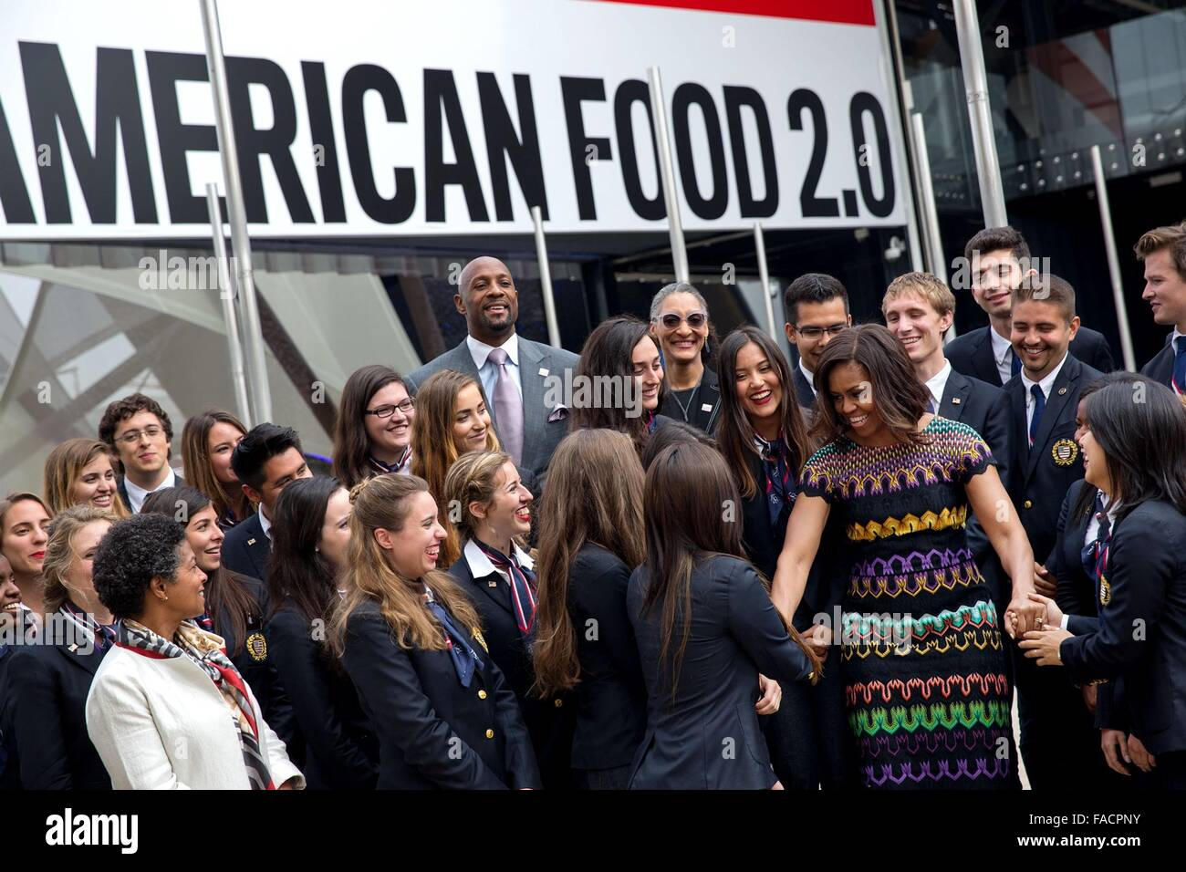 US First Lady Michelle Obama greets student ambassadors and the U.S. Delegation at the USA Pavilion at the World - Stock Image