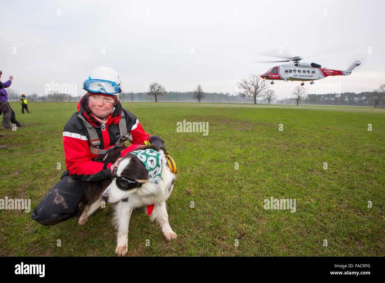 A Sikorsky S92 Helicopters run operated by Bristows at Carlton Hall in Penrith, Cumbria, UK to train with Lake district - Stock Image