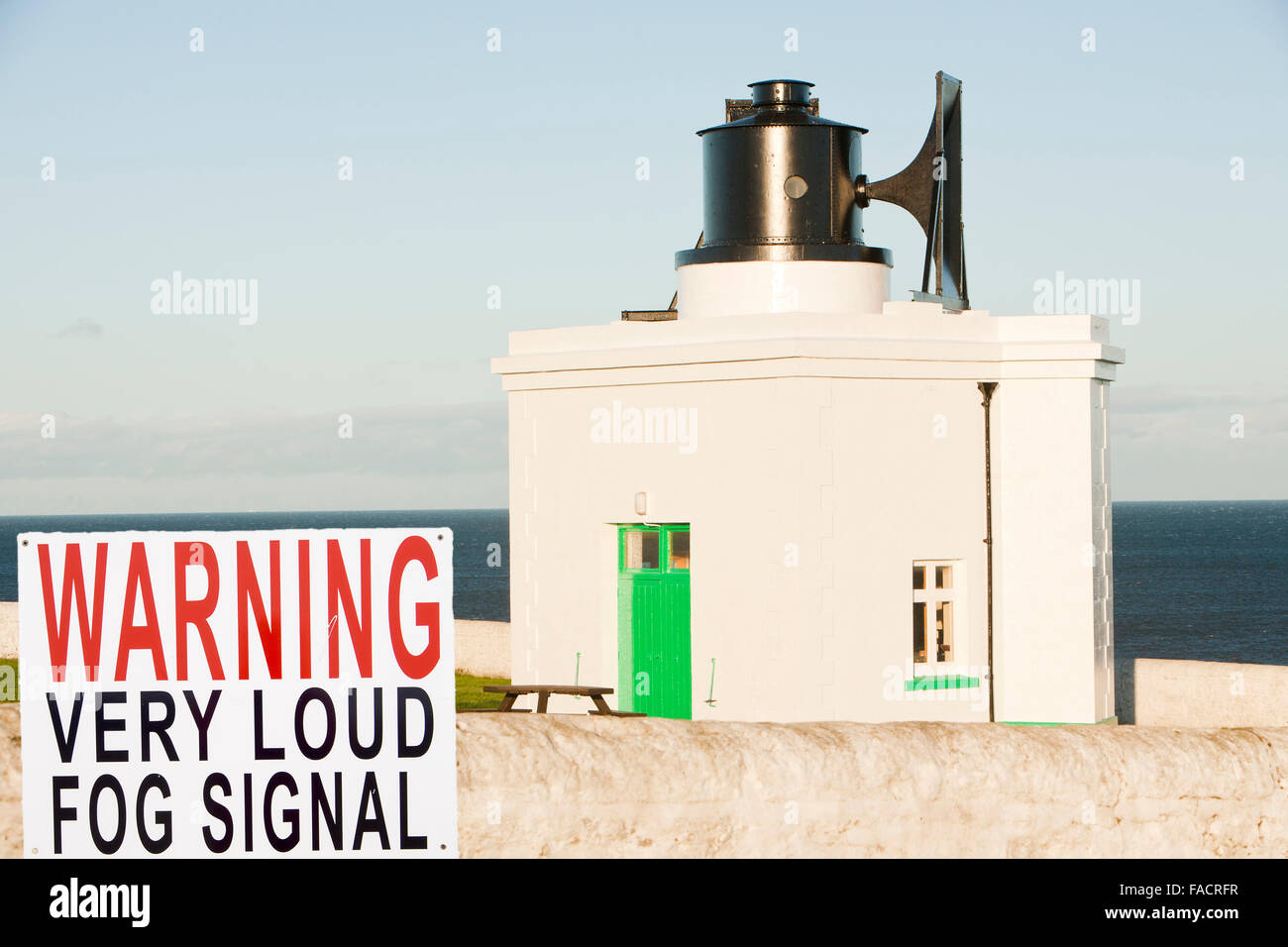 The fog horn at Souter Lighthouse on the North East coast between Sunderland and Newcastle, it was the first lighthouse - Stock Image