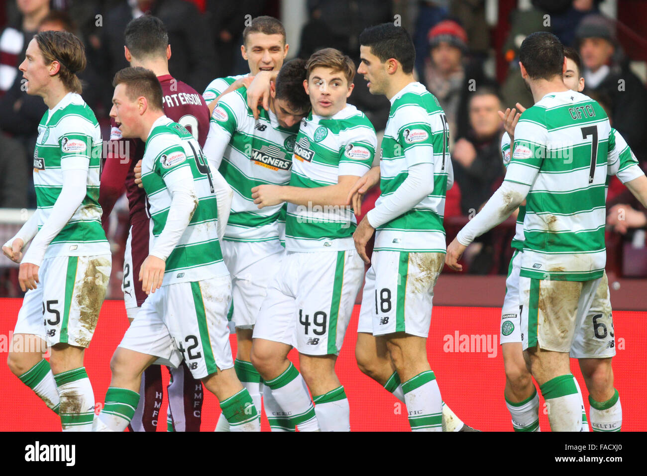 Tynecastle Stadium, Edinburgh, Scotland. 27th Dec, 2015. Scottish Premier League. Celtic versus Heart of Midlothian. - Stock Image