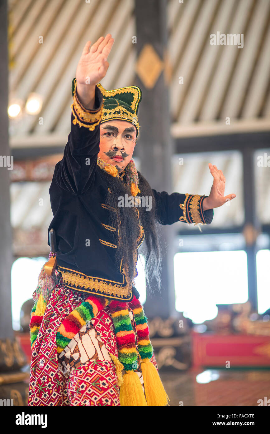 dancer  performing a traditional Javanese dance at The Sultan's Palace / Kraton, Yogyakarta, Java, Indonesia, - Stock Image