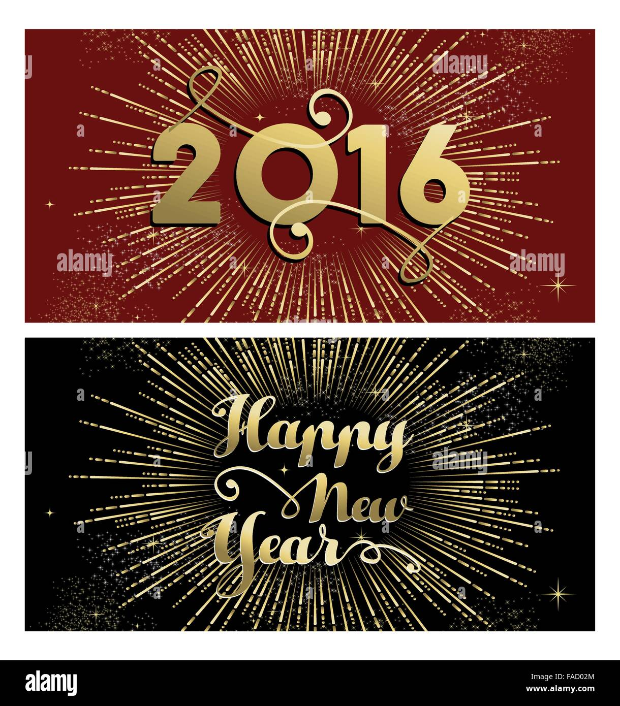 happy new year 2016 banner greeting card set with gold text and firework explosion eps10 vector