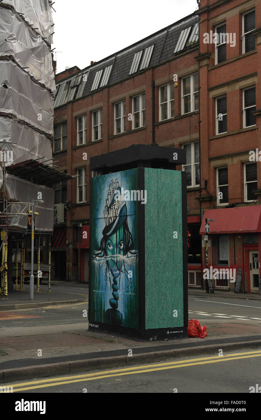 Grey sky portrait, to Spear Street, SLM 'Wild Woman Island ' image, Outhouse , Stevenson Square, Northern Quarter, Stock Photo