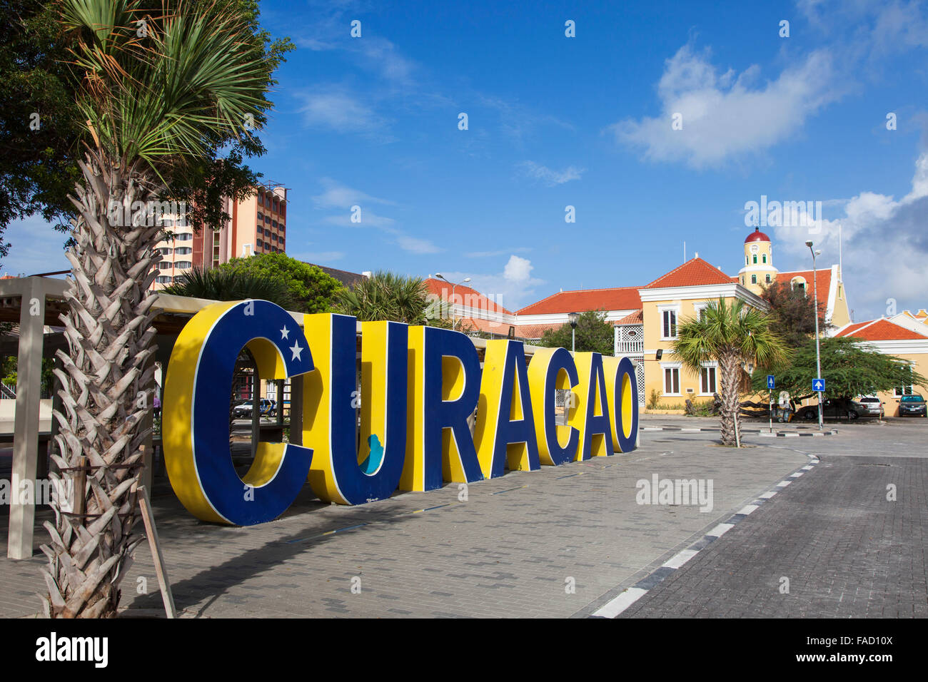 A Big Curacao Sign in the Center of Willemstad, Curacao Island - Stock Image