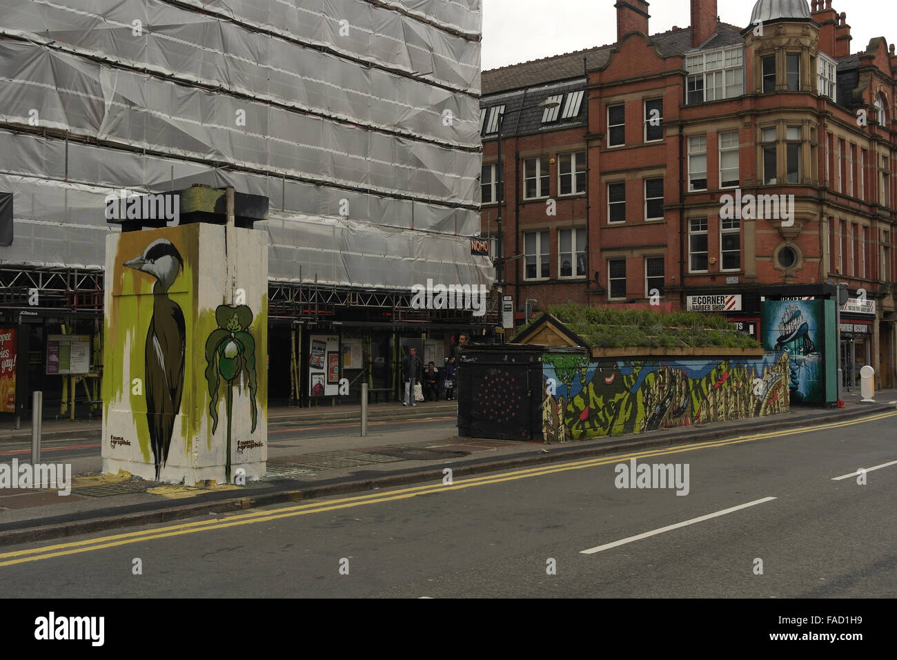 Oblique view Faunagraphic heron, Oliver Smith 'Mon 53' mural, SLM 'Wild Woman Island', Outhouse, Stevenson Square, Stock Photo