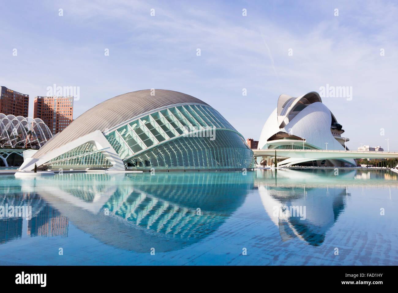 Valencia, Spain. The City of Arts and Sciences.  L'Hemisfèric.  El Palau de les Arts Reina Sofia in the - Stock Image