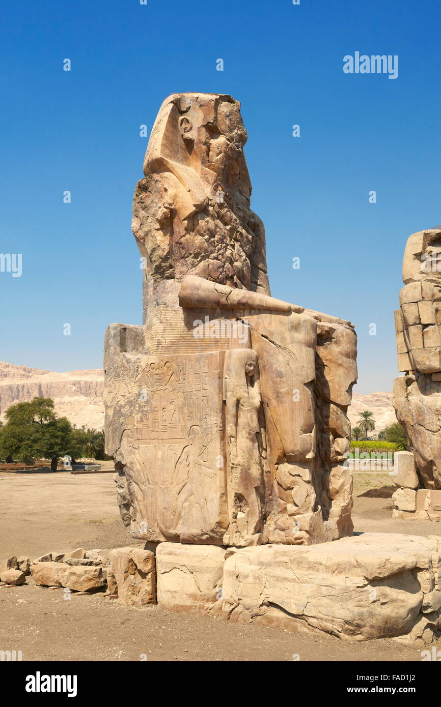 Theban Colossus of Memnon, Egypt - Stock Image