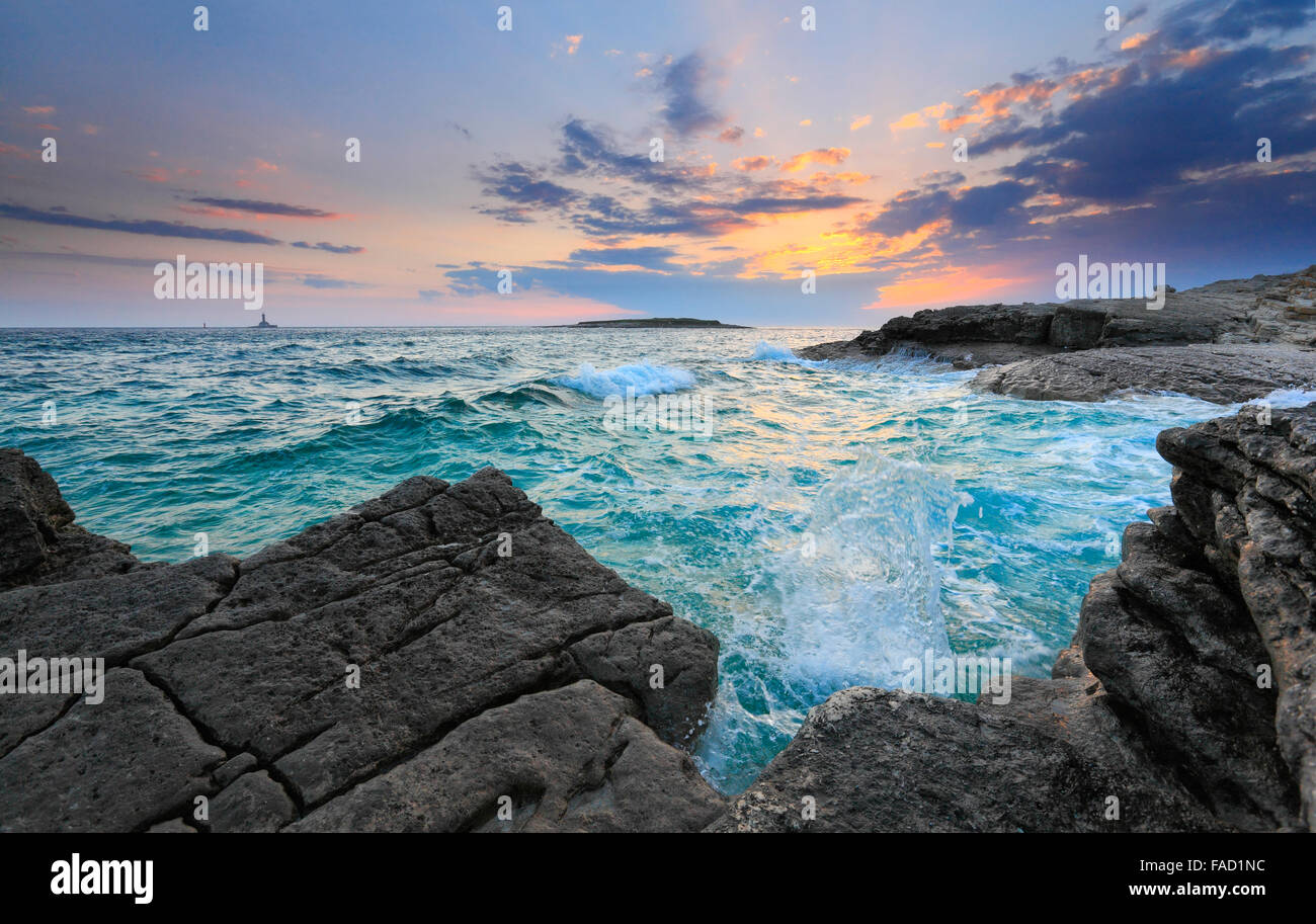 Sunset in Istria. Rt kamenjak, Premantura. - Stock Image