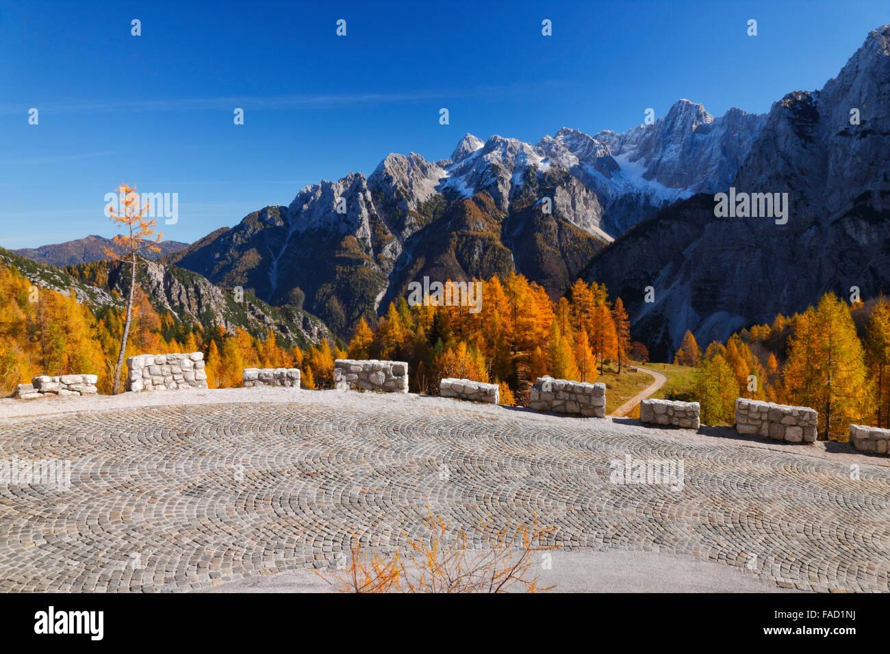 Road to mountain pass Vrsic. Popular motorbike road. Stock Photo