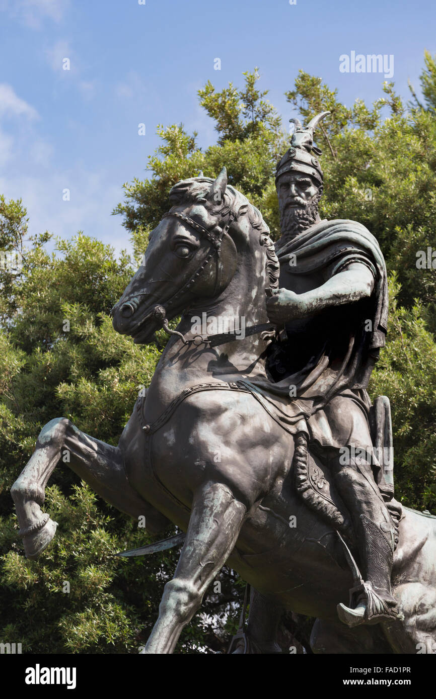Kruja, Durres County, Albania.  Monument to Skanderbeg, real name George Castriot, 1405 – 1468.  Albanian national - Stock Image