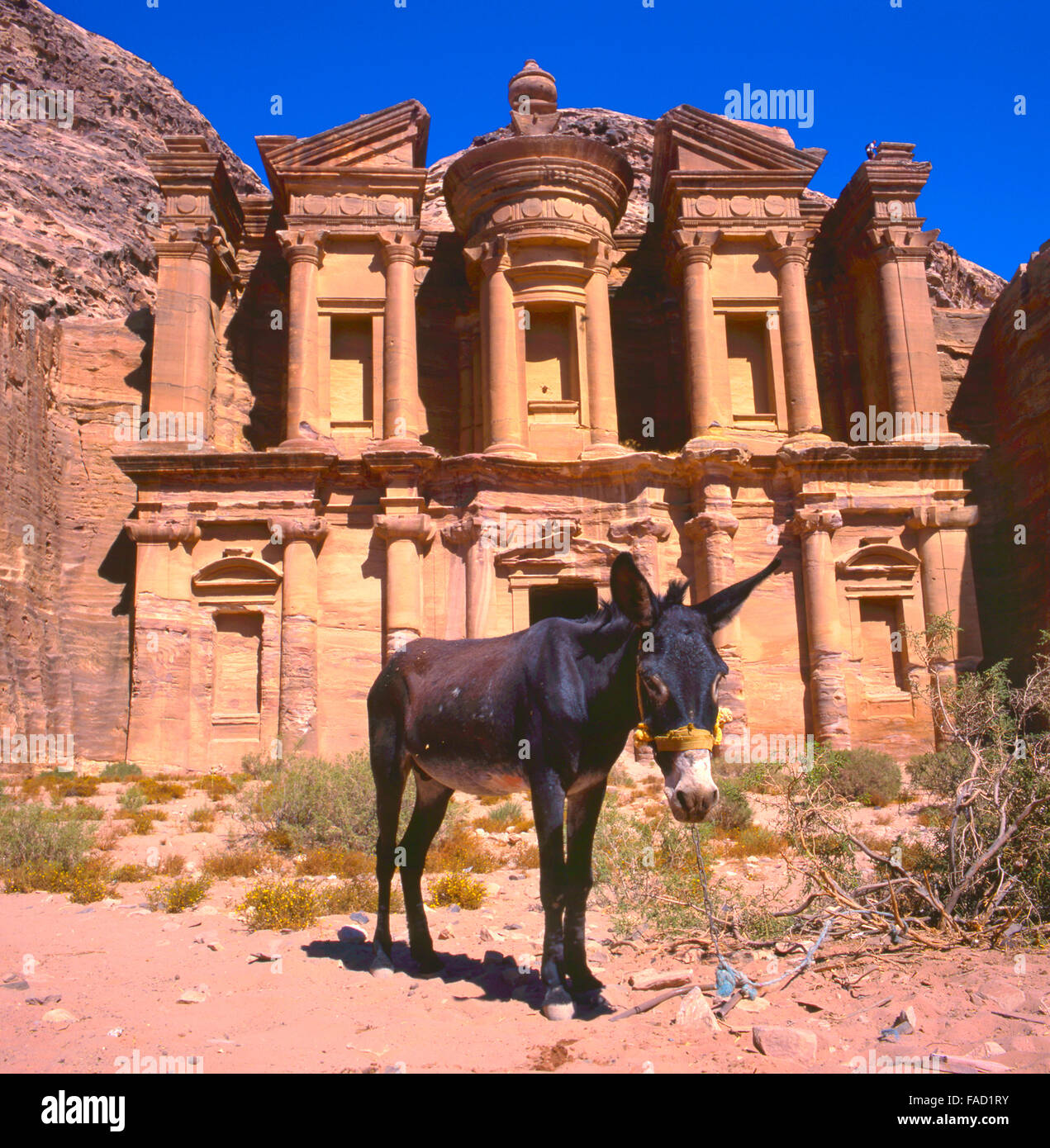 The Ed-Deir grave in Petra.The old city of Petra is an UNESCO World Heritage site - Stock Image