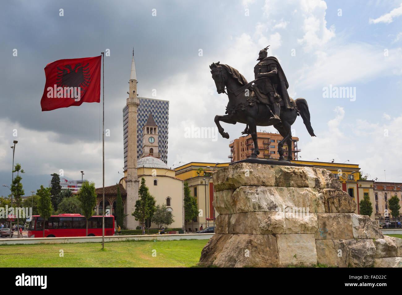 Tirana, Albania. Skanderbeg Square with monument to Skanderbeg, real name George Castriot, 1405 – 1468. Albanian - Stock Image