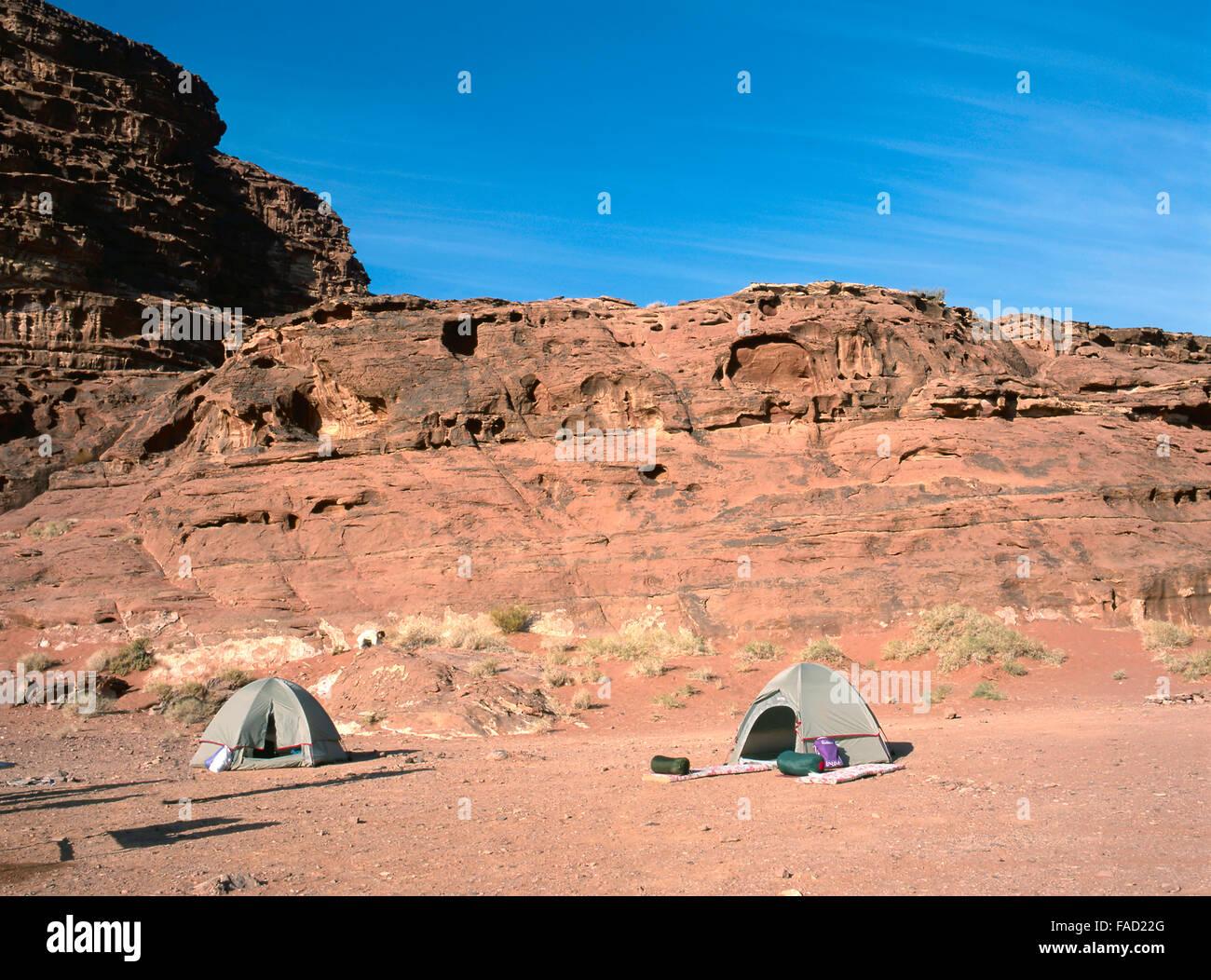 Two tents of hikers in Wadi Rum,Jordan - Stock Image