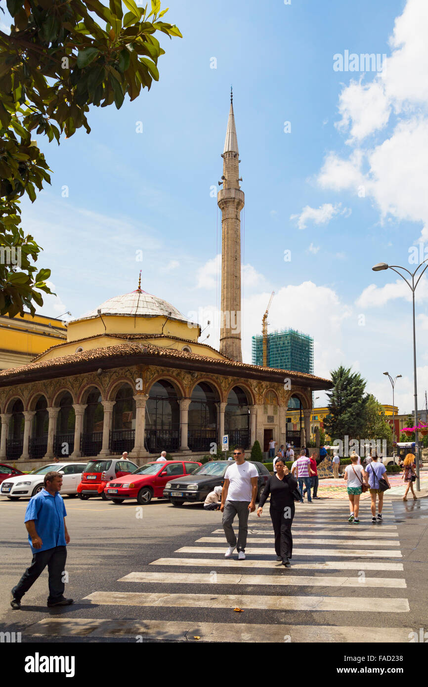 Tirana, Albania.  The Et'hem Bey mosque. - Stock Image