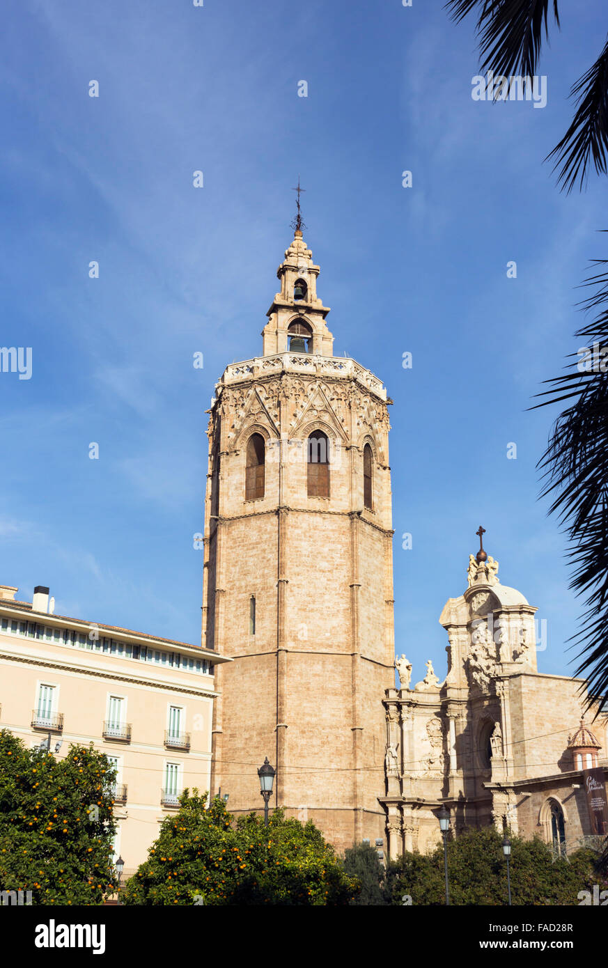 Torre del Micalet, or La torre del Miguelete, once the minaret of the old mosque, now the belltower of  Valencia Stock Photo