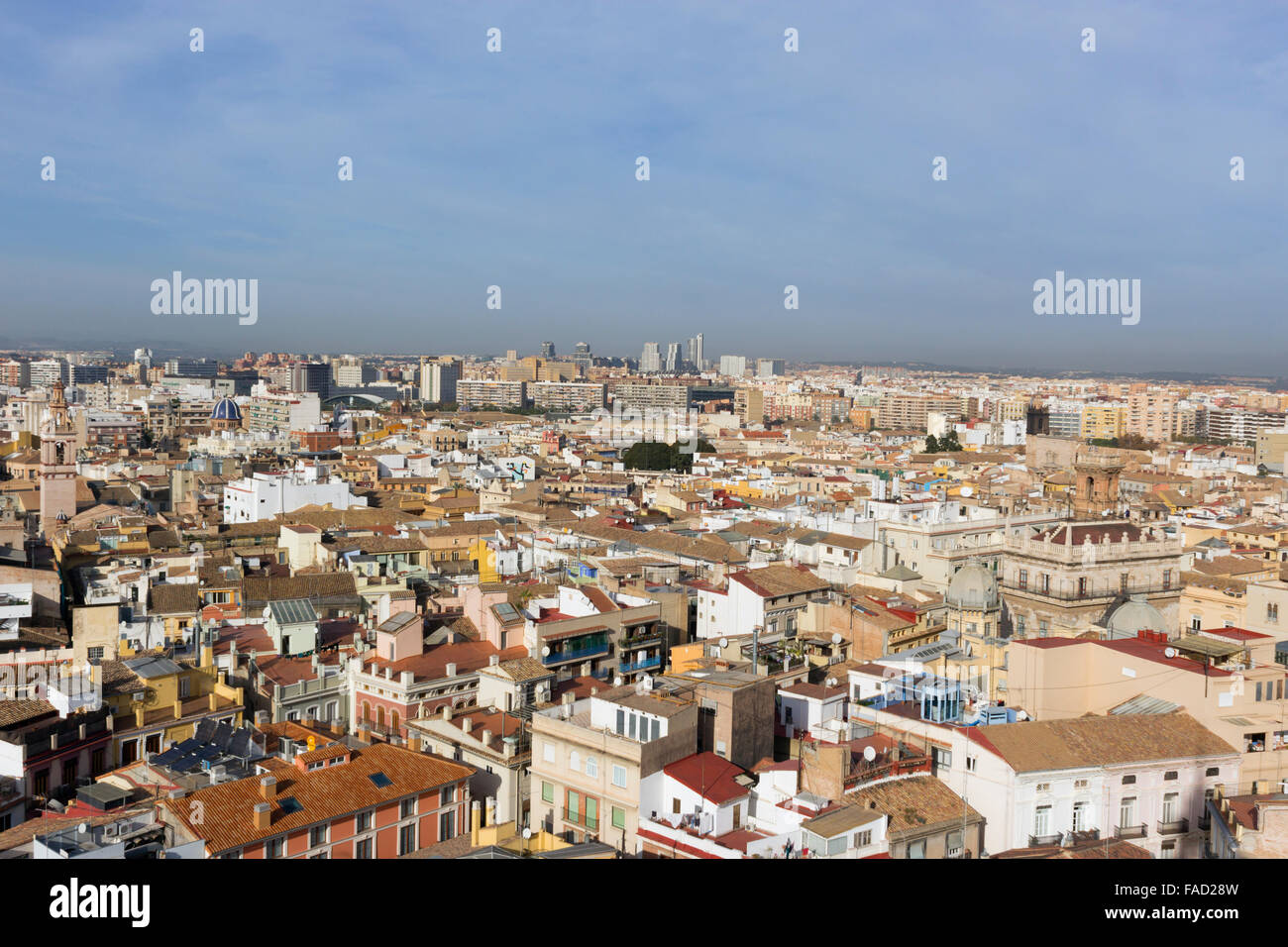 Valencia, Spain.  View over the city from the Micalet Tower or Torre del Micalet aka El Miguelete, of the cathedral. Stock Photo
