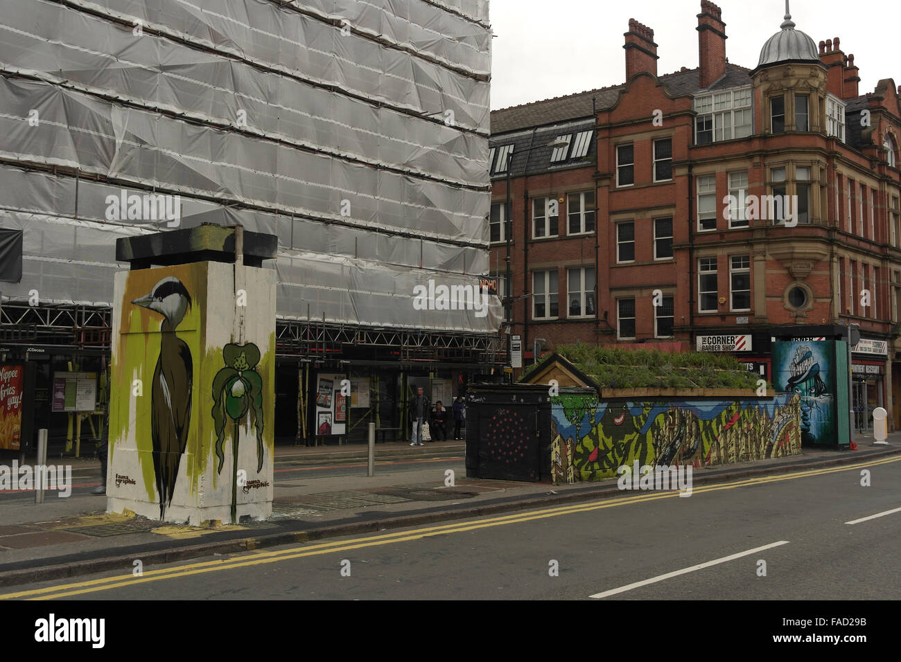 View to Spear Street Faunagraphic heron, Oliver Smith 'Mon 53' mural, SLM 'Wild Woman island', Stevenson Square, Stock Photo