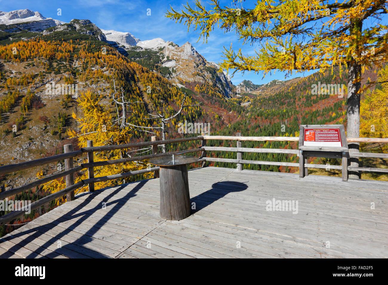 Viepiont near Vrsic pass in Julian alps in autumn, Slovenia. - Stock Image