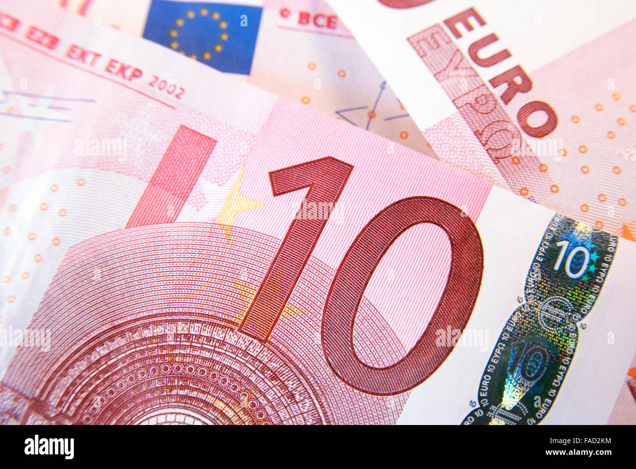 Ten euro banknote as a background - Stock Image