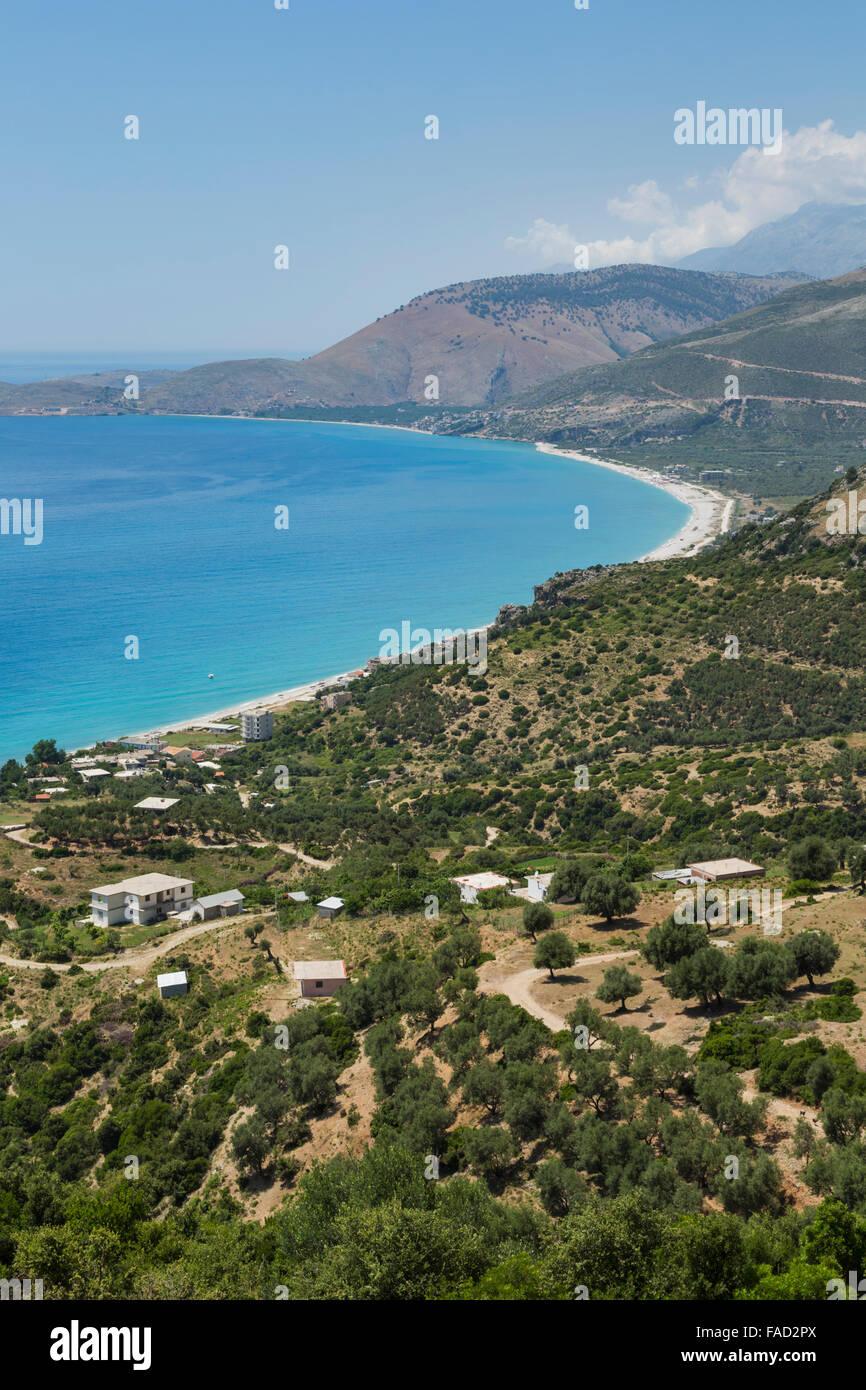 Albania.  Albanian Riviera.  Bunec beach seen from near Piqeras. - Stock Image